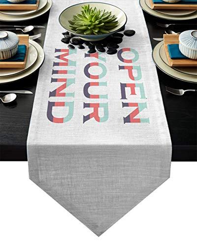 Chemin de Table Ouvrez Votre Esprit Chemin de Table Rustique Chemin de Table à Manger,Utilisation Quotidienne des décorations de Table résistantes aux Taches