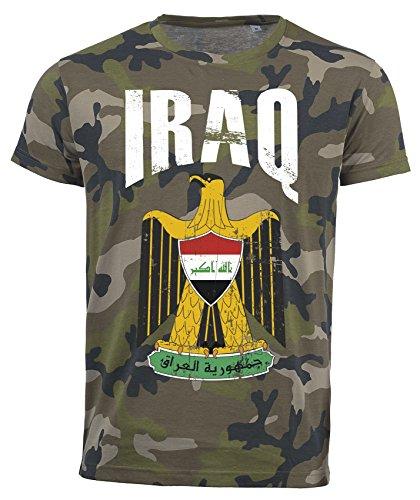 T-Shirt Irak Camouflage Army WM 2018 .- Vintage Destroy Wappen D01 (M)