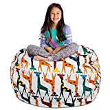 Posh Stuffable Kids Stuffed Animal Storage Bean Bag Chair Cover - Childrens Toy Organizer, X-Large-48' - Canvas Giraffes on White
