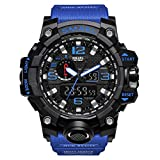 Orologio militare da uomo sport impermeabile casual orologio Masculino LED analogico al quarzo con batteria (nero e blu scuro)