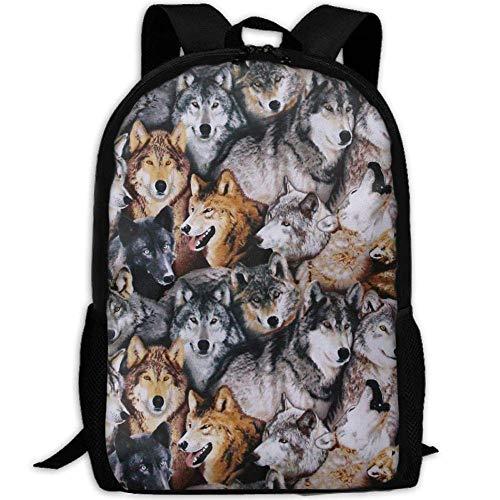 best& Vintage North American Wildlife Wolves College Laptop Backpack Student School Bookbag Rucksack Travel Daypack