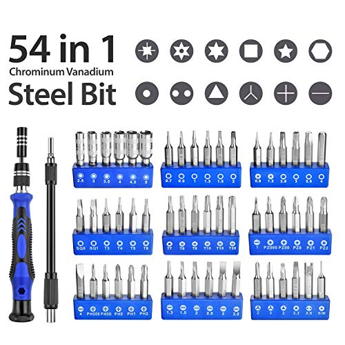 URWOOW Screwdriver Set 58 in 1, 54 Interchangeable Magnetic Bits Precision Screwdriver Kit Flexible Shaft with Extension Bar Repairing tablet, laptop, PC, smart phone, watch, lens, camera