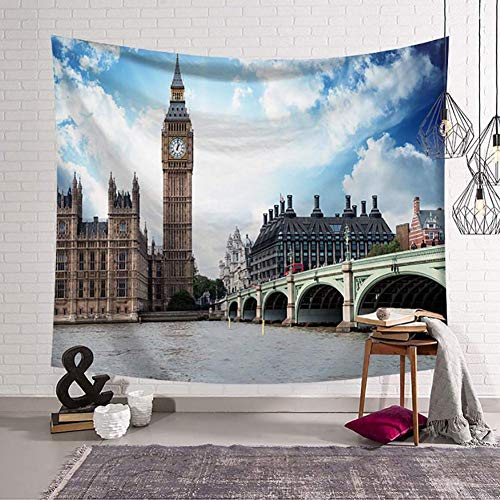 N / A Tapestry World Famous Architecture Tapestry Wall Hanging Big Ben Pattern Digital Print Wall Tapestry 130×150cm(51×59inch)