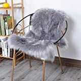 HLZHOU Gray Faux Fur Rug Soft Fluffy Chair Cover Seat Pad Area Rugs for Bedroom Living Room Nursery (2 x 3 Feet (60 x 90 cm) Gray)