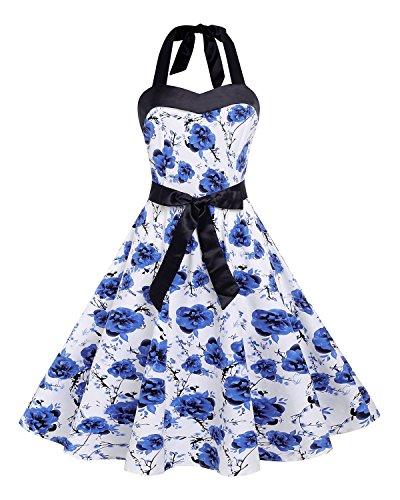 Kidsform Vintage jurk voor dames, rockabilly jaren 50-jurk, cap-mouwen, swing, retro print, partyjurk, cocktailjurk, blauwe bloem, S