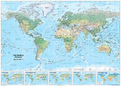 I Love Maps – Physikalische Weltkarte – Papier laminiert – A0