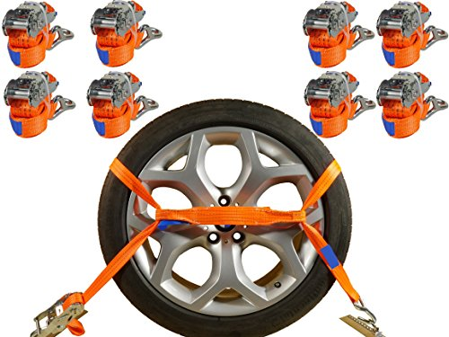 INDUSTRIE PLANET 8 x Spanngurte Auto Transport PKW 2000 daN 2,9m 35 mm Auto Transport Zurrgurte Reifengurte