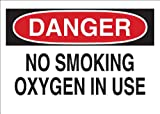 Brady 25086 Plastic No Smoking Sign, 7' X 10', Legend 'No Smoking Oxygen In Use',Black/Red on White