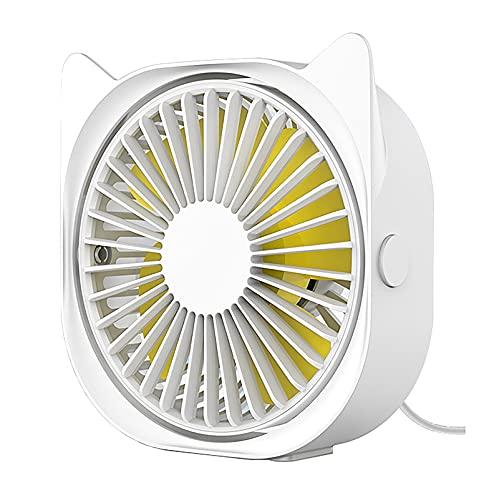 LABYSJ Mini Ventilador de Escritorio silencioso USB, Ventilador de Escritorio para Oficina en Verano, Ajuste de 3 velocidades, rotación de 360 °, Ventilador de refrigeración USB portátil,Blanco