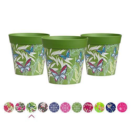 Hum Flowerpots Ensemble de 3 pots de fleurs colorés Green Butterfly