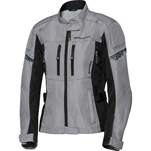 DXR Motorradjacke, Motorrad Jacke Sommertour Damen Textiljacke, Reflexmaterial, Verbindungsreißverschluss, Bundweitenverstellung, Schulter-, Ellbogen- und Rückenprotektor-Taschen, Grau, XL