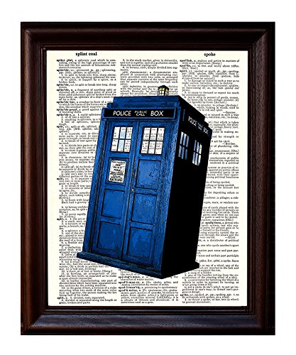 Dictionary Art Print - Dr. Who Tardis British Blue Police Box Booth - Printed on Recycled Vintage Dictionary Paper - 8.5'x11' - Mixed Media Poster on Vintage Dictionary Page