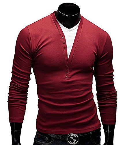 Benibos Mens Henley T-shirts with Long Sleeve (US:M / Asia XL, Red)