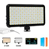 DEEPLITE LED Video Light, Bicolor On Camera Light Panel for Photo Video Live Stream, Super Slim and Portable Fill Light for DSLR Camera Nikon Canon Sony, 180 LED Dimmable with LCD Display, Alloy Body