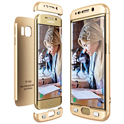 CE-Link Cover Samsung Galaxy S6 Edge 360 Gradi Full Body Protezione, Custodia Galaxy S6 Edge Silicone 3 in 1 Antishock e Antiurto, S6 Edge Case - Oro