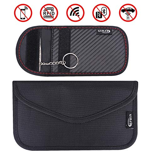 Borsa RFID Faraday Keyless Entry Premium di Faraday Accessori di Sicurezza per Chiave Auto Nero Newseego 2 x Caso Mini Block Segnale Chiave Auto Car Sacchetto di Blocco del Segnale per Key FOB