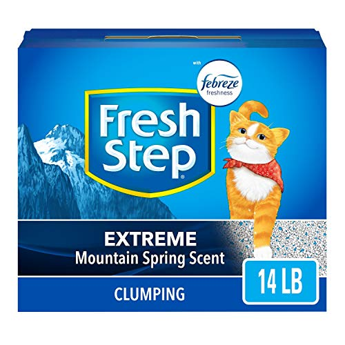 Fresh Step Extreme Scented Litter with The Power of Febreze, Clumping Cat Litter – Mountain Spring, 14 lb, Grey