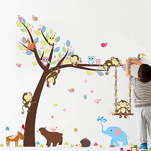 Stickers muraux Forêt Heureux Animaux Ours Hibou Cheeky Singe Swing Arbre Diy Pour Chambre D'enfants Bébé Pépinière Carton Décor Home Decal Mural