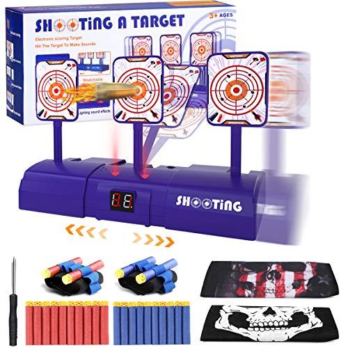 Gafild Objetivos de Tiro Eléctrico, Reinicio Automático, Tablero de Puntuación con Pantalla LCD Efecto de Sonido de Luz, para Nerf Guns Blaster Elite/Mega/Rival Series