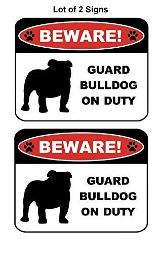 PCSCP 2 Count Beware Guard Bulldog (Silhouette) (Ver L) on Duty 9 inch x 11.5 inch Laminated Dog Sign