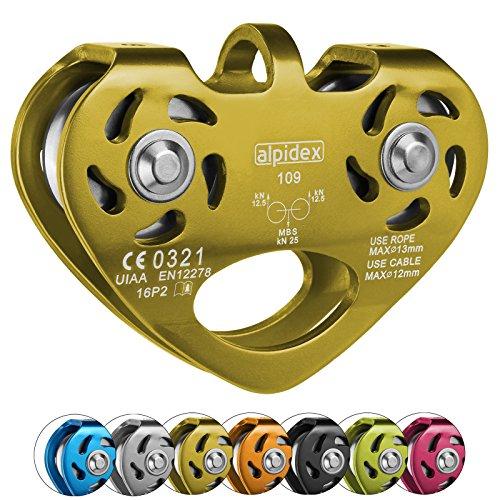 ALPIDEX Seilrolle Tandem Pulley Umlenkrolle Doppelseilrolle - geeignet für Stahlseile 8-12 mm Ø und Textilseile bis 13 mm Ø, Farbe:Gold