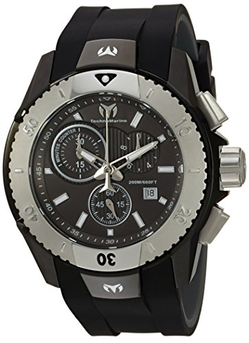Technomarine Men's UF6 Stainless Steel Quartz Watch with Silicone Strap, Black, 0.95 (Model: TM-616003)
