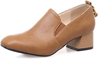 Veveca Women Chunky Mid Heel Leather Slip On Uniform Dress Oxford Shoes Square Toe Penny Loafers Pump