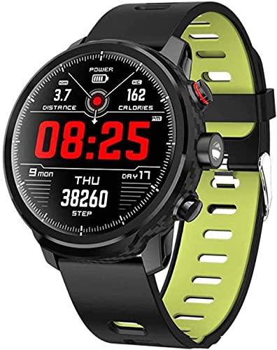 Reloj inteligente para hombre de seguimiento de fitness de 1.3 pulgadas pantalla táctil completa reloj inteligente IP68 impermeable, con podómetro, GPS, SMS, monitor de frecuencia cardíaca-verde