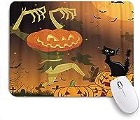 VAMIX マウスパッド 個性的 おしゃれ 柔軟 かわいい ゴム製裏面 ゲーミングマウスパッド PC ノートパソコン オフィス用 デスクマット 滑り止め 耐久性が良い おもしろいパターン (ハロウィンかぼちゃの不気味な猫の子供たち)