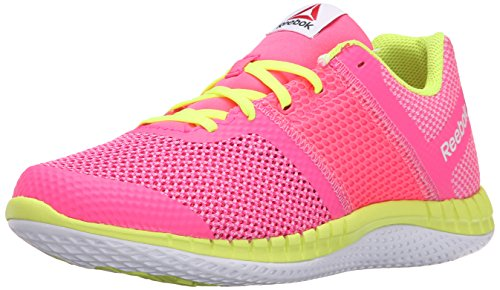 Reebok Girls' Zprint Run-K, Icono Pink/Solar Yellow/White, 5.5 M US Big Kid