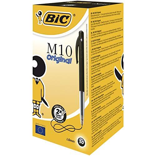 BIC balpen M10 clic, 0,4 mm, doos à 50 stuks Box 50 zwart