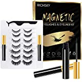 Richsky 3D Magnetic Eyelashes with Eyeliner Kit, Natural Magnetic False Lashes with Eyeliner Long Lasting, 7 Pairs Reusable Fake Eyelash with Tweezers, No Glue Needed, Easy to Wear
