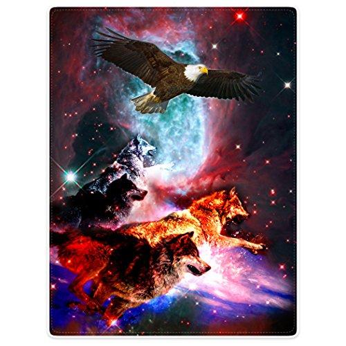 Violetpos Dick Decke Weich Wärme Gemütlich Flanell-Fleece Sofadecke Deckeldecke Schöne Bunte Galaxie Wölfe Laufen Den Adler 150 x 200 cm