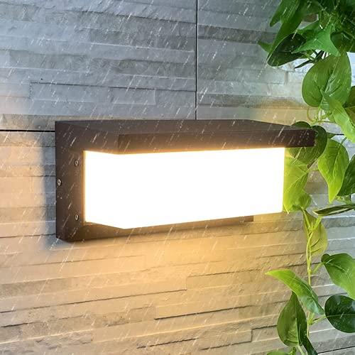 Aplique Pared Exterior HOMEOW 20W 32CM Lámpara de Pared Exterior LED IP65 Impermeable Aplique Pared 3000K Blanco Cálido 1500LM 30CM Negro para Exterior Interior Jardín Terraza Baño Garaje