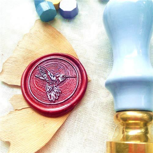 YFB Girlande Kolibri MINIhellblau HolzgriffWachs Siegel Vogel Stempeldekorative Siegel Memo Tool Vintage Paint Wachs Siegel StempelVogel einen blauen Griff