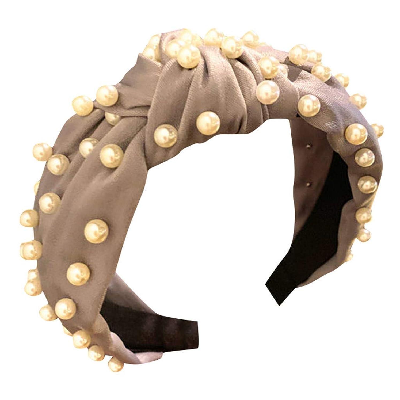 責任ボーダー追加するヘッドバンド レディース ヘアバンド 洗髪用アクセサリー 花柄 ビード 結び目 装飾 可愛い ヘッドウェア ターバン