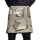 Katrine Store Queso de Tofu Estilo de Dibujos Animados Unisex Moda Medio Cuerpo Cintura Delantales de Chef con Bolsillo Cocina Delantales Cortos