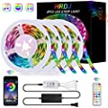 65.6FT/20M LED Strip Lights, HRDJ RGB LED Light Strip Music Sync RGB LED Strip,5050 SMD Color Changing LED Strip Light Bluetooth Controller + 24 Key Remote LED Lights for Bedroom Home Party(4x16.4FT)