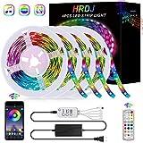65.6FT/20M LED Strip Lights, HRDJ RGB LED Light Strip Music Sync RGB LED Strip,5050 SMD Color Changing LED Strip Light Bluetooth Controller + 24 Key Remote LED Lights for Bedroom Home Party(4x16.4FT)