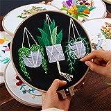 Bordado DIY Flor Trabajo hecho a mano Costura para principiantes Kit de punto de cruz Pintura Cinta Aro de bordado Decoración del hogar/Floral, H, 20CM