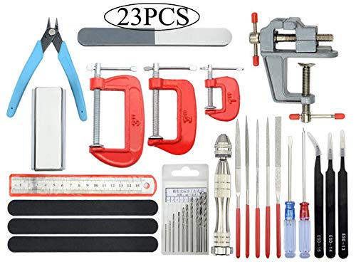BXQINLENX Professional 23 PCS Gundam Model Tools Kit Modeler Basic Tools Craft Set Hobby Building Tools Kit for Gundam Car Model Building Repairing and Fixing(K)