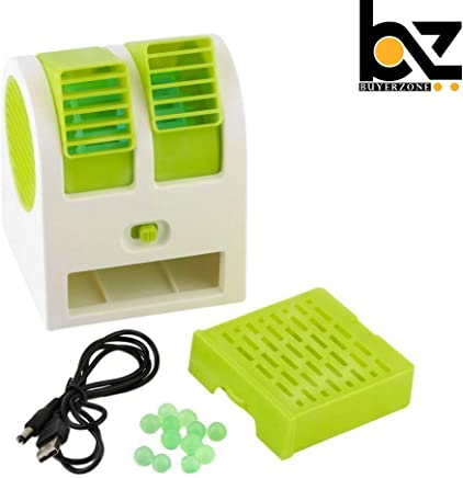 Buyerzone Plastic Portable Mini Air Cooling Fan with Battery and USB Operated For Desk and Office (Multi Color)