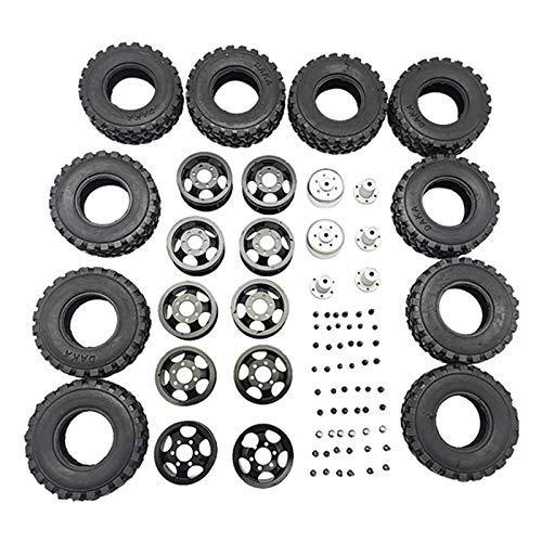 YNSHOU Accesorios de Juguete Rueda de Metal de Doble neumático para WPL B16 B36 JJRC Q60 Q63 Q64 6WD 6X6 RC Truck Upgrade Parts, Negro