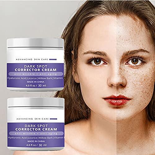 Crema correctora de manchas oscuras para rostro y cuerpo, laboratorios blanqueadores correctores de manchas oscuras, removedor de manchas de la edad, crema hidratante facial (2 x 30 ml)