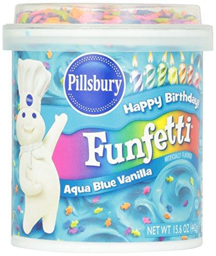 Pillsbury Happy Birthday Funfetti Aqua Blue Vanilla Frosting 442g (Pillsbury Alles Gute zum Geburtstag Funfetti Aqua Blue Vanilla Zuckerguss)