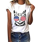 Women Plus Size American Flag Cat Print Tees Shirt Short Sleeve Blouse Tops
