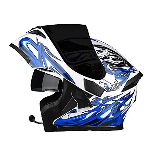 Casco de Motocicleta Modular Bluetooth Incorporado Cascos Integral Flip Up ECE Aprobado Casco Scooter con Doble Visera Anti Vaho para Hombre Mujer Casco Moto para Adultos 57~66cm