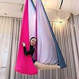 Shysbv - 7 metri di colore sfumato per yoga, amaca, volant-Swing, tessuto aereo, trazione anti-gravità, yoga, cintura da yoga e sala da yoga