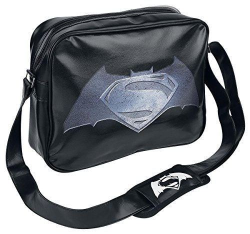 Batman v Superman Steel Print Logo Bolso Bandolera Negro, 60% PVC, 40% Poliester,
