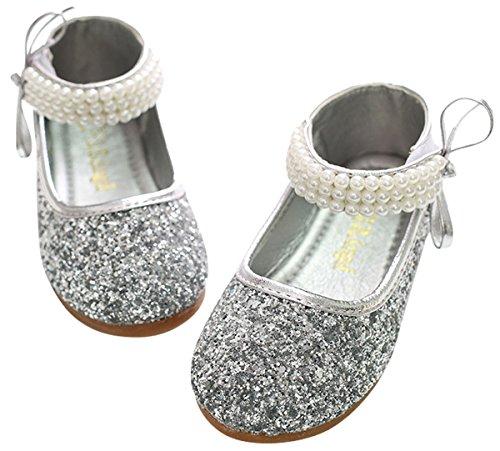 BoBo Angel Mädchen Mary Jane Halbschuhe Prinzessin Paillette Ballerina mit Perlen Riemchen Klettverschluss Festliche Glitzer Schuhe - Silber Größe 27